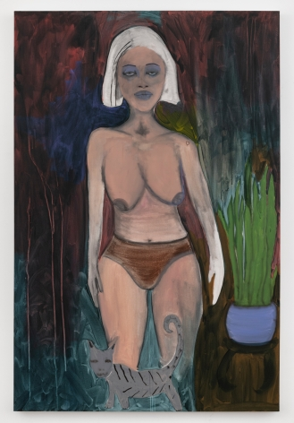 """February James, """"The Thing I Regret Most Are My Silences"""", 2020, oil, oil pastel, watercolor and acrylic on linen, 72 inches by 48 inches (183 centimeters by 122 centimeters). Painting by the artist, February James."""