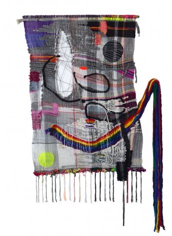 "Terri Friedman, ""Oxytocin"", 2018, Wool, cotton, hemp, acrylic, metallic fibers, 77 by 50 inches"