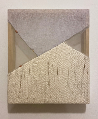 Martha Tuttle Stones chasing after one another (2), 2020 Wool, linen, silk, and quartz 20 x 16 inches