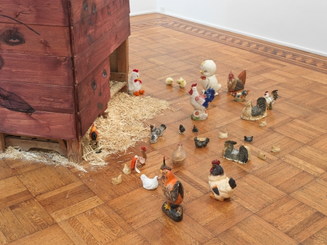 """This image is an installation view of the February James exhibition titled """"When the Chickens Come Home To Roost."""" The exhibition features paintings, watercolors and sculptures by February James installed and on view at Tilton Gallery."""
