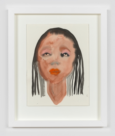 """Watercolor and ink on paper work by February James titled """"What happens when the chanting stops?"""" and made in 2021. The work depicts a figure's face."""