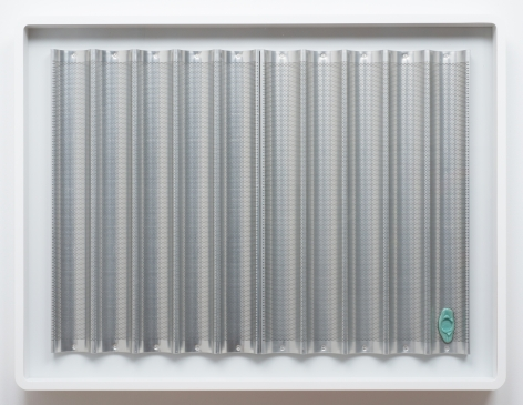 """Egan Frantz, """"Baguette and Crab"""", 2013, steel baguette baking pans with wax seal in artist's frame, 31-1/2 x 41-1/4 x 3 inches (80 x 104.8 x 7.6 cm)."""