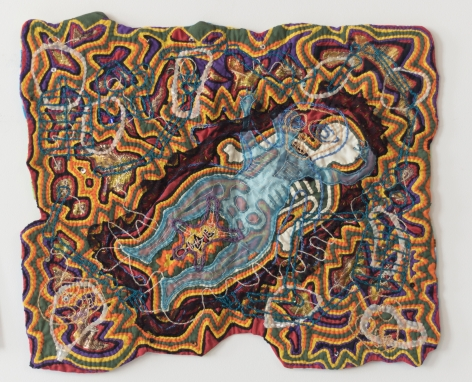 "Joyce Scott, ""Happy Holocaust IV"", 1986, fabric, embroidery, thread, beads, 15 1/2 x 18 3/4 inches ​(39 x 48 cm)"