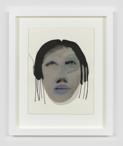 """February James work on paper titled """"After the fall"""" made in 2021. It is a watercolor and ink on paper work depicting a figure's face."""
