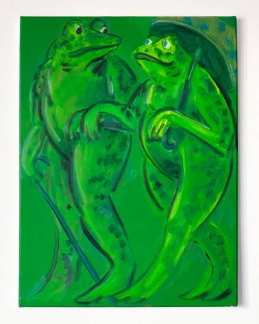 "Antone Könst, ""Two Small Frogs"", 2020, oil on canvas, 24 inches by 16 inches."