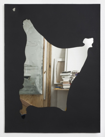 """Luca Dellaverson, """"Untitled"""", 2014, Gesso on epoxy resin with mirrored glass and wood support, 40 inches by 30 inches"""