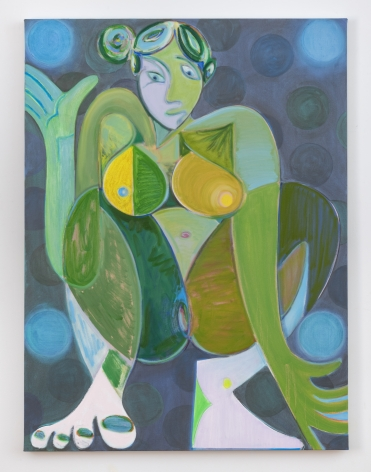 """Antone Könst, """"Juggling (green)"""", 2019, oil on canvas, 48 inches by 36 inches"""