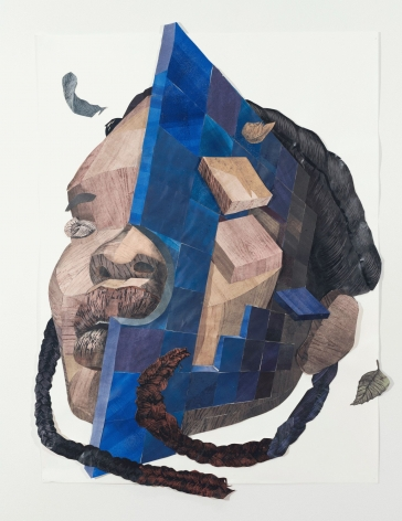 """Yashua Klos, """"You've Learned To Let Go"""", 2019, paper construction of woodblock prints and graphite on archival paper, 48 inches by 36 inches."""