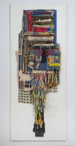 """Noah Purifoy, """"For Lady Bird, SLR"""", 1989, mixed media assemblage, 72-1/4 by 28-1/4 by 6 inches."""