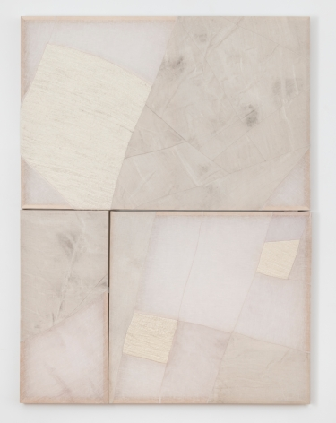 "Martha Tuttle, ""Untitled"", 2019, wool, linen, graphite, pigment, quartz, 62 x 46 x 2 inches (158 x 117 x 5 cm)."