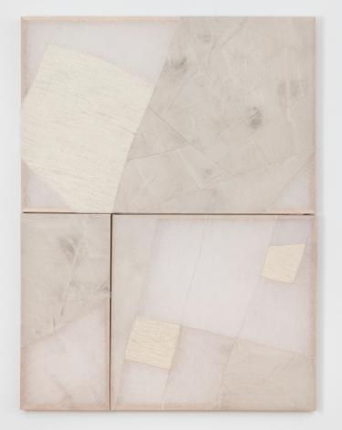 "Martha Tuttle, ""Untitled"", 2019, wool, linen, graphite, pigment, quartz, 62 x 46 x 2 inches (158 x 117 x 5 cm)."