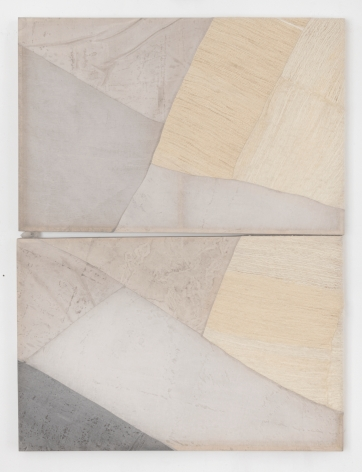 Martha Tuttle Couplet on transcending limitations, 2019 Wool, linen, graphite, pigment, and quartz 61 1/2 x 46 inches