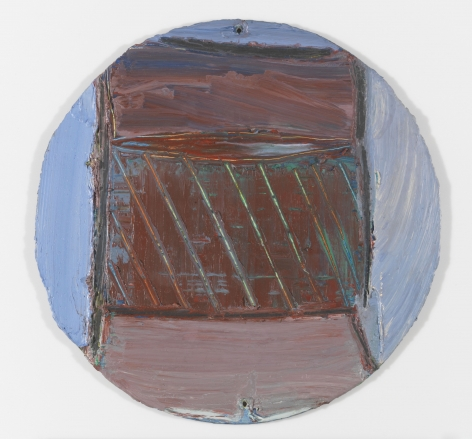 "Louise Fishman ""Untitled"", 1974 Oil on masonite Diameter: 11-1/2 inches"