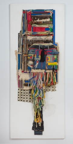 """Noah Purifoy, """"For Lady Bird, SLR"""", 1989, mixed media assemblage, 72-1/4 by 28-1/4 by 6 inches. A hanging wall work sculpture by Noah Purifoy."""
