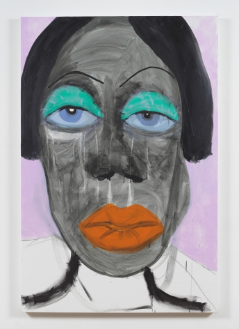 """Painting by February James titled """"Crossing the street without looking both ways is a security I don't know"""" made in the year 2021 and depicting a figure's face."""