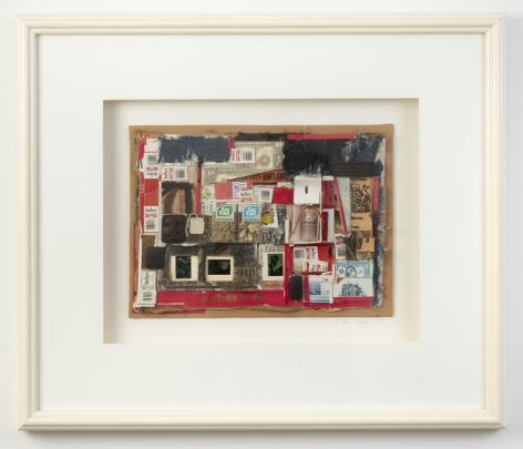 """Noah Purifoy, """"Piece of the Action I (White Frame)"""", 1995, mixed media collage, 25-1/4 inches by 29-1/2 inches by 2-1/2 inches"""