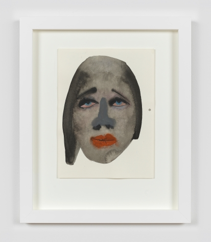 """A framed work on paper by February James titled """"What's the matter with you?"""" made in 2021 depicting a figure's face."""