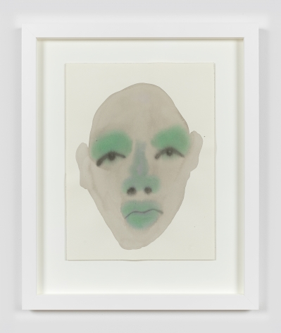 """Work on paper by February James titled """"And here we go again"""" made in 2021 depicting a figure's face."""