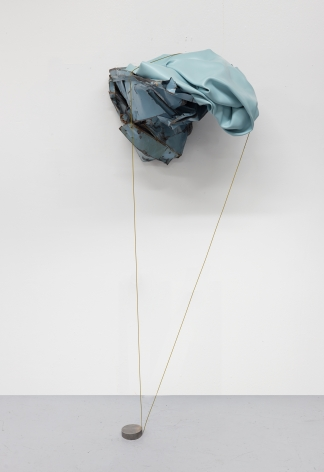 "Sculpture by Kennedy Yanko titled ""Pleasure Page"" and made in 2021. The sculpture consists of paint skin, metal, and painted wire."