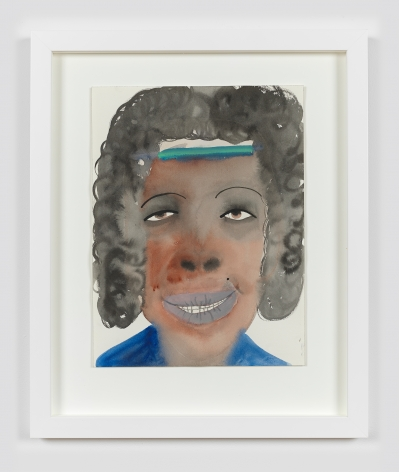 """A framed work on paper by February James titled """"I've been waiting for this moment"""" made in 2021 depicting a figure's head."""
