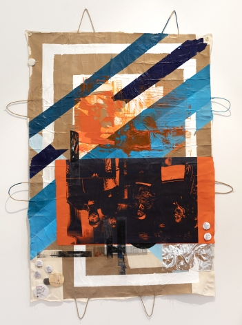 Tomashi Jackson Brooklyn (Turned Upside Down), 2019 Mixed media on paper and muslin 60 x 44 inches