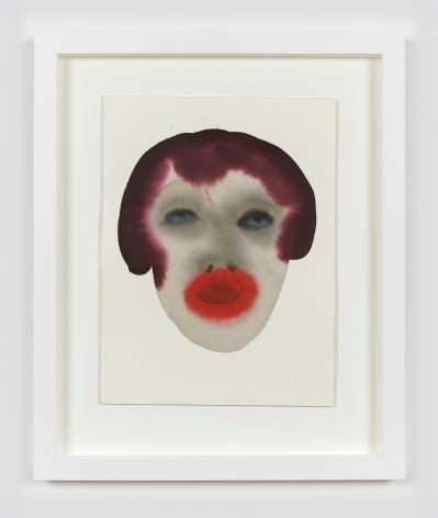 """A framed work on paper by February James titled """"High energy, low rage"""" made in 2021 depicting a figure's head."""