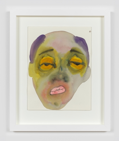 """Watercolor and ink on paper work by February James titled """"What should we do next, who should we follow?"""" and made in 2021. The work depicts a figure's face."""