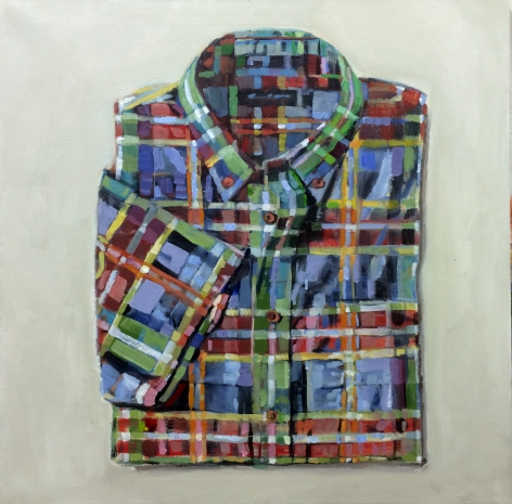 "Walter Robinson, ""Land's End Bayberry Multiplaid"", 2014, acrylic on canvas, 28 inches by 28 inches."