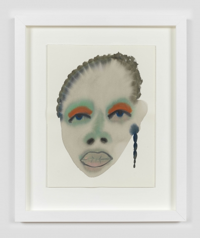 """A framed work on paper by February James titled """"A heart full of broken promises"""" made in 2021 depicting a figure's face."""