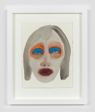 """February James work on paper titled """"Walk, don't run"""" made in 2021. It is a watercolor and ink on paper work depicting a woman's face."""