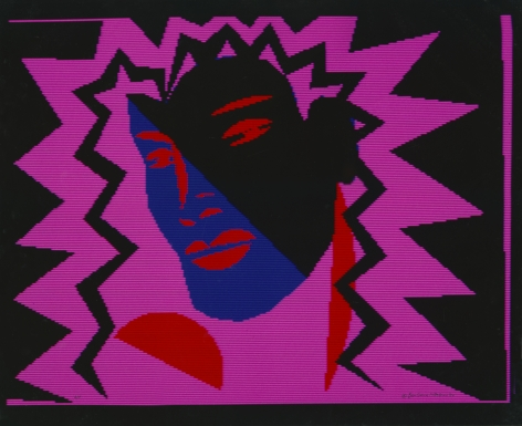 Barbara Nessim, Black and Blue on Pink (NorPak IPS2 Computer), 1984