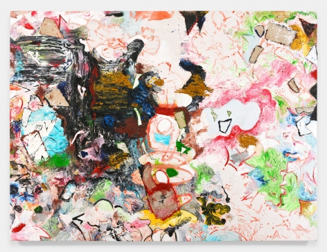 Large painting, oil-based paint, enamel paint, and mixed media on linen.