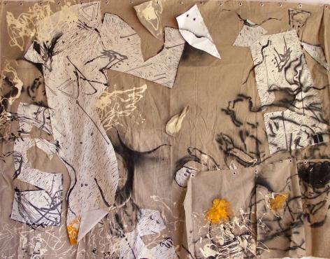 Linen, cotton canvas, mixed media