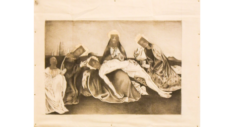 Black and white image on prison-issued bed sheets
