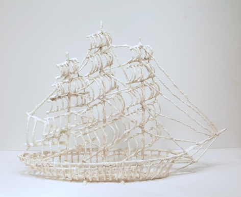 Air-dried clay, acrylic paint, armature wire