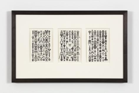 Bruce Conner TRIO 51-55-28, 1975 ink each card: 6 x 4 in. (15.2 x 10.2 cm) frame: 13 1/4 x 21 1/4 in. (33.7 x 54 cm)