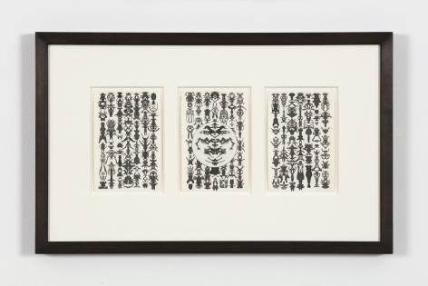Bruce Conner TRIO 31-29-32, 1975 ink each card: 6 x 4 in. (15.2 x 10.2 cm) frame: 13 1/4 x 21 1/4 in. (33.7 x 54 cm)