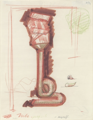 Claes Oldenburg, Notebook Page #3184, Study for Tube Supported by its Contents, 1971