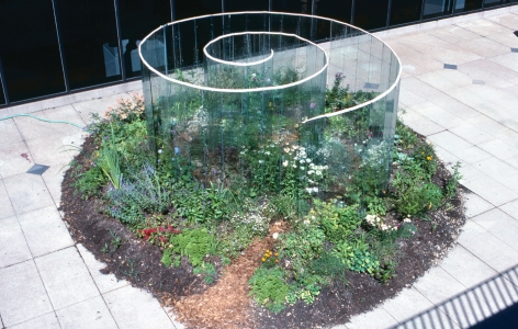 Meg Webster Glass Spiral, 1990 glass, water, plants, soil 86 x 180 x 240 in. (218.4 x 457.2 x 609.6) Price Upon Request