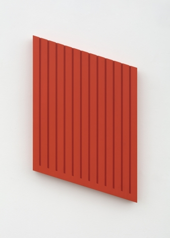 Donald Judd's Untitled Wood Block (2L) from 1978 made of Cadmium red light acrylic on sugar pine, and measuring 25 1/4 x 16 x 2 in. (64.1 x 40 .6 x 5.1 cm).