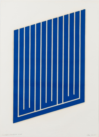 Donald Judd's Untitled (11-L) woodcut in cerulean blue on cartridge paper, created 1961-1963/1969. Framed it measures 32 1/2 x 23 7/8 x 1 3/4 in. (82.6 x 60.6 x 4.4 cm)