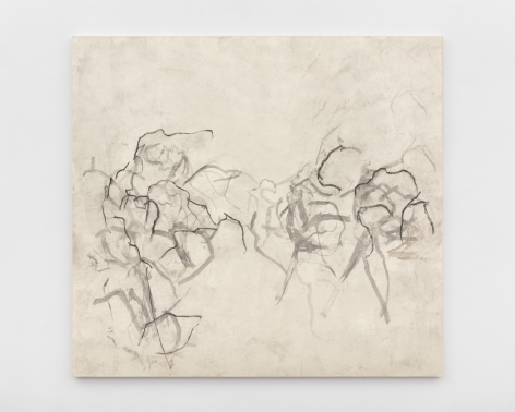 """Beatrice Caracciolo  Malincuore, 2016, pigment, water soluble chalk, graphite, gouache on paper, mounted on canvas, 58 3/4 x 63 3/4 x 1 1/4 in. (149.2 x 161.9 x 3.2 cm)  signed and dated verso """"Beatrice Caracciolo 2016"""""""