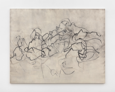 """Beatrice Caracciolo  Innocenti, 2020, pigment, water soluble chalk, graphite, gouache on paper, mounted on canvas,  57 1/4 x 73 1/4 x 1 1/4 in. (145.4 x 186.1 x 3.2 cm)  signed and dated verso """"Beatrice Caracciolo 2020"""""""