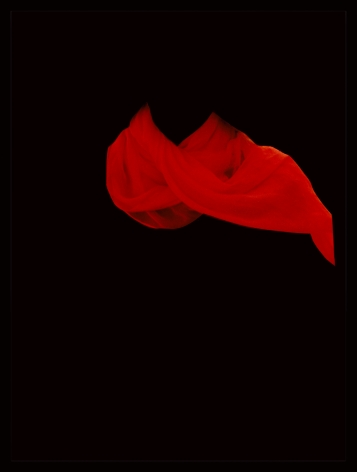 Sarah Charlesworth's, Red Scarf, 1983, Cibachrome with lacquered wood frame, 42 x 32 in. (81.3 x 106.7 cm)