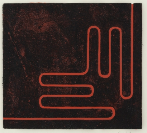 Donald Judd's Untitled (Print H), from 1961-1978 - a woodcut in black with cadmium red oil on the reverse on frostlite vellum paper. Framed: 26 x 27 x 1 1/4  in. (66 x 68.6 x 3.1 cm)  Edition 10 of 25  Printed by Roy C. Judd, Published by Galerie Heiner Friedrich, Munich