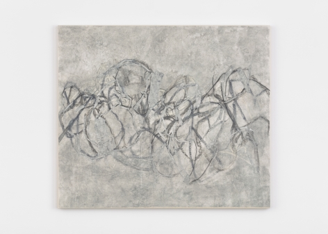 """Beatrice Caracciolo, Tearing Apart 2, 2020, pigment, water soluble chalk, graphite, gouache and collage on paper, mounted on canvas, 43 x 49 3/4 in. (109.2 x 126.4 cm)  signed and dated verso """"Beatrice Caracciolo 2020"""""""