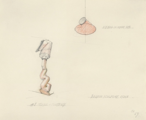 Proposal for a Giant Balloon in the Form of a Tube and its Contents – Shown in Relation to the Giant Ice Bag, 1969-70, graphite and color pencil on paper, frame: 14 7/8 x 16 1/4 in. (37.8 x 41.3 cm).