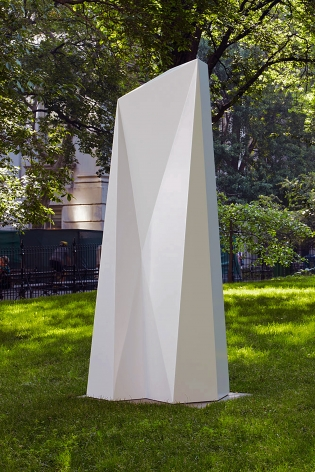 "Installation view of Sol LeWitt's ""Complex Form MH 7,"" 1990 painted aluminum 120 x 36 x 48 in. (304.8 x 91.4 x 121.9 cm), organized by Public Art Fund in 2011."