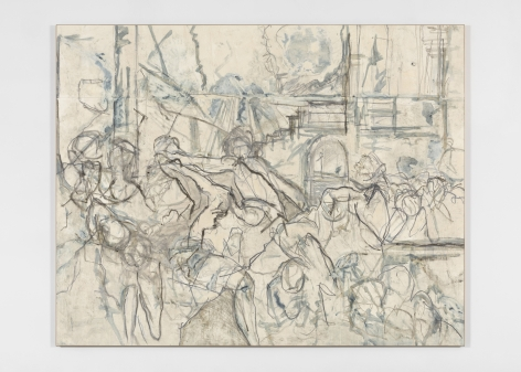 Beatrice Caracciolo  Trevisani 1, 2018, pigment, water soluble chalk, graphite, gouache on paper, mounted on canvas, 74 1/2 x 94 x 1 1/4 in. (189.2 x 238.8 x 3.2 cm)