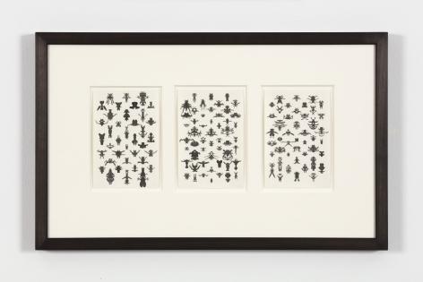 Bruce Conner TRIO 24-23-22, 1975 ink each card: 6 x 4 in. (15.2 x 10.2 cm) frame: 13 1/4 x 21 1/4 in. (33.7 x 54 cm)